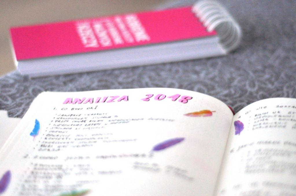 Plany na nowy rok, strona z  analizą roku 2018.